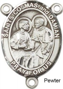 Sts. Cosmas & Damian Rosary Centerpiece Sterling Silver or Pewter [BLCR0296]