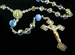 Swarovski Crystal Rosary with Blue Flower Murano Glass Our Father Beads [HMBR046]