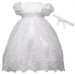 Taffeta Floral Embroidery Christening Gown [HBB1068]