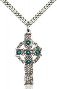 Tall Celtic Cross Pendant with Birthstone Options [BLST0252]