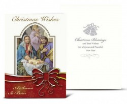 The Holy Family with Red Bow Christmas Card Set [HRCR803]