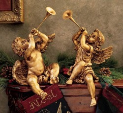 Trumpeting Angel Statues (Set of 2) [TGS0035]