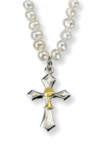Two-Tone Cross with Chalice and Freshwater Pearl Necklace [HMM3379]