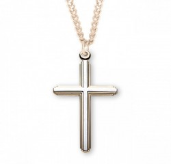 Two-Tone Cross Necklace Gold Plated Sterling Silver [RECR1003]
