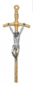 "Two-Tone Papal Wall Crucifix - 5 1/2""H [MVCR1046]"