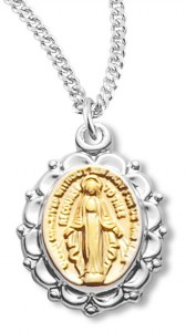 Two-tone Miraculous Medal with Chain [HM0811]