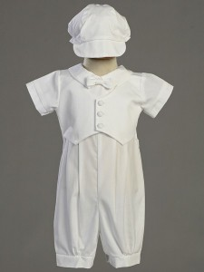 Tyler Cotton Baptism Romper with Pique Vest [LCC0023]