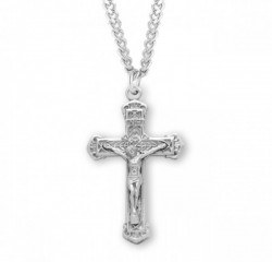 Layered Leaf Crucifix Medal Sterling Silver [RECRX1019]
