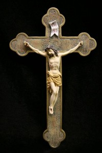 Wall Crucifix Hand Painted Marble Composite - 12 inch [VIC7004]
