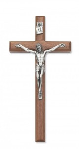 Walnut Wall Crucifix with Beveled Edge Silver-tone Corpus 10 Inch [CRX3837]