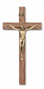 Carved Walnut Wood Wall Crucifix 10 inch [CRX3836]