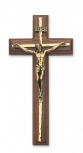 Carved Brass Inlay Wall Crucifix 10 inch [CRX3851]