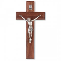 Wide Crossbar Walnut Wall Crucifix Silver-tone Corpus - 10 inch [CRX4175]