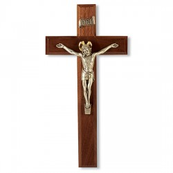 Beveled Edge Two-tone Walnut Wall Crucifix - 11 inch [CRX4191]