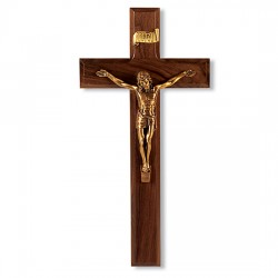 Goldtone Salerno Corpus Walnut Wall Crucifix - 11 inch [CRX4192]