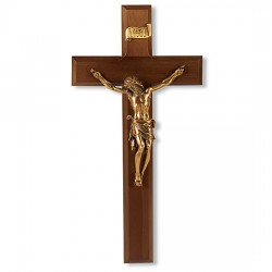 Wide Edge Gold-tone Walnut Wall Crucifix - 11 inch [CRX4211]