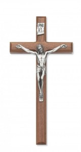 12 Inch Wall Crucifix Walnut with Beveled Edge [CRX3838]
