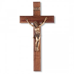 Classic Dark Walnut Wall Crucifix with Gold-tone Corpus - 12 inch [CRX4239]