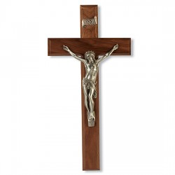 Curved Corpus Walnut Crucifix - 12 inch [CRX4241]