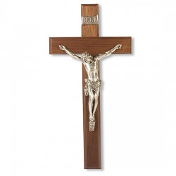 Bowed Head of Christ Walnut Wall Crucifix - 12 inch [CRX4249]