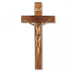 Wide Edge Slimline Walnut Wall Crucifix - 12 inch [CRX4254]