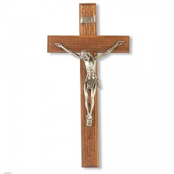 Narrow Corpus with Silver-tone Walnut Wall Crucifix - 12 inch [CRX4256]