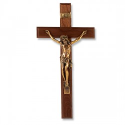 Gold-tone Corpus and Walnut Wall Crucifix - 13 inch [CRX4273]
