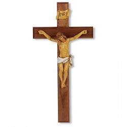 Hand-Painted Corpus Walnut Wall Crucifix - 13 inch [CRX4287]