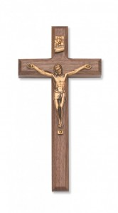 Walnut Wall Crucifix 8 inch Beveled Edge [CRX3835]