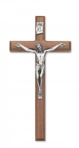 8 Inch Wall Crucifix in Walnut with Beveled Edge [CRX3840]