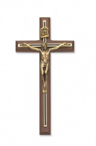 Black and Gold Inlay Wall Crucifix 8 inch [CRX3845]