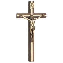 Walnut Wall Crucifix with Gold-Tone Inlay 10 inch Beveled [CRX3843]