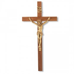 Slimline Walnut Wood Wall Crucifix - 10 inch [CRX4150]