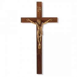Slimline Walnut Wood Wall Crucifix Salerni Corpus- 9 inch [CRX4093]