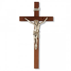 Slimline Walnut Wood Wall Crucifix - 9 inch [CRX4119]