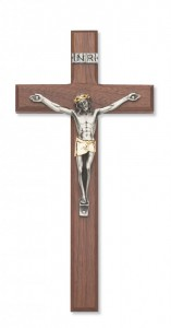 "Walnut Wood Crucifix with Two Tone Corpus - 10""H [MVCR1017]"