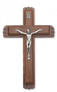 "Walnut Wood Sick Call Crucifix Set with Silver Corpus - 11""H [MVSC0002]"