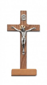 "Walnut Wood Standing Crucifix with Two Tone Corpus - 8""H [MVCR1031]"