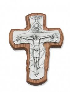 "Walnut Wood Trinity Crucifix - 5 1/2""H [MVCR1028]"
