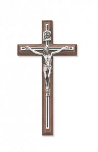 "Walnut with Black Overlay Crucifix - 8""H [MVCR1013]"