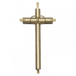 Wedding Cross - 7 1/2 inch Oak & Metal [CR4060]