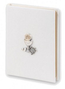 White Cover First Communion Missal with Raised Chalice [HC2618]