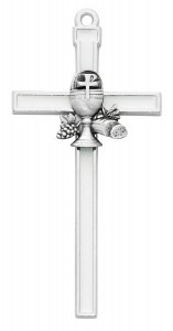 White Enamel First Communion Wall Cross 5 Inches [MV1006]