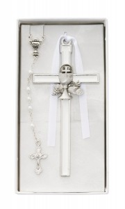 White Enamel First Communion Wall Cross and Rosary Set [MV1049]