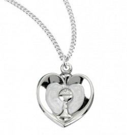 White Enamel Heart with Gold Chalice Necklace [HMM3366]