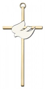 "White Enamel Holy Spirit Wall Cross 6"" [CRB0039]"