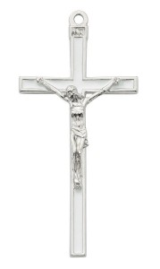 White Enamel and Silver Tone Wall Crucifix 5 Inches [MV1001]