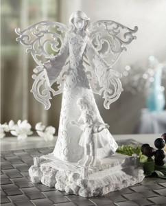 White Open Cut Wings Guardian Angel 8.5 Inch High Statue [CBST013]