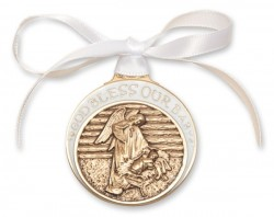 White Ribbon Angel in Manger Crib Medal in Brass [BLCRB010]