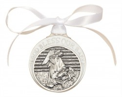 White Ribbon Angel in Manger Crib Medal in Pewter [BLCRB009]